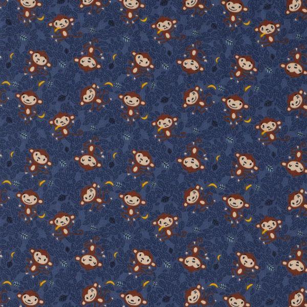 Stoff Meterware Jersey dunkelblau Affen 0,5