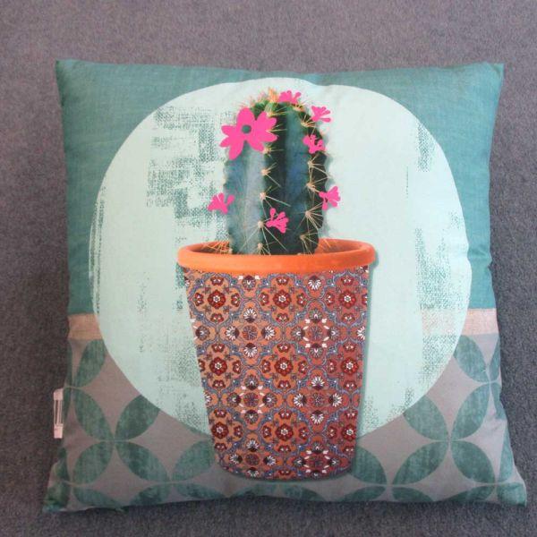 Kissen Dekokissen Kaktus 40cm x 40xm türkis mint