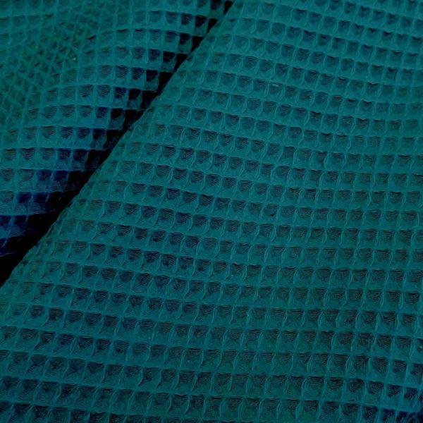 Stoff Meterware Baumwolle Waffelpikée Waffelpiqué beidseitig petrol 0,5