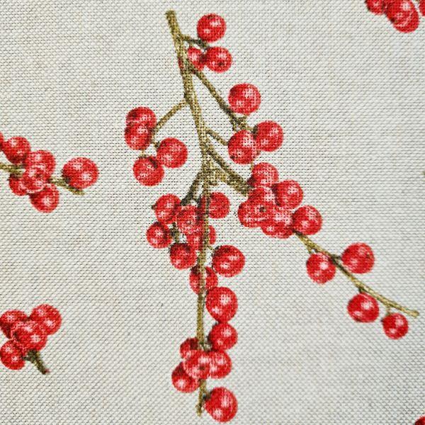 Stoff Baumwollstoff natur Winterbeeren rot Vogelbeeren 0,5