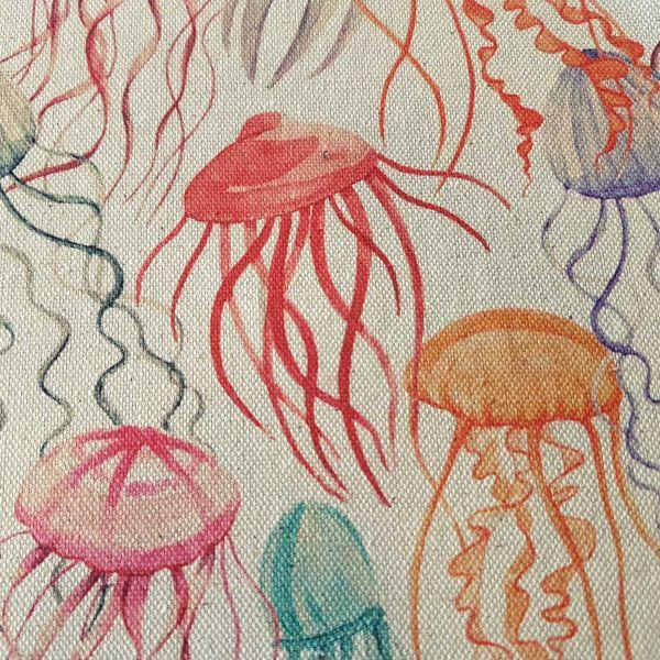 Stoff Meterware Baumwolle Fotodruck natur Quallen Medusa bunt Dekostoff