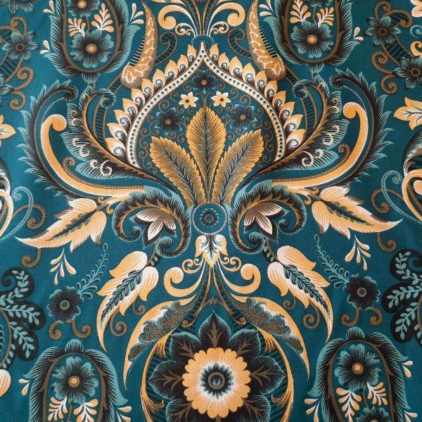 Kurzstück Stoff Baumwolle Comtesse Ranken Art Deco indigo gelb 0,60m x 1,57m