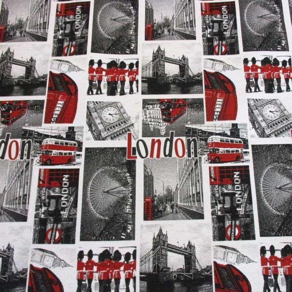 Stoff Jacquard London Big Ben Tower Bridge