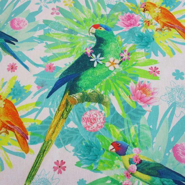 "Stoff Baumwolle Digitaldruck ""Brasilia"" Papagei"