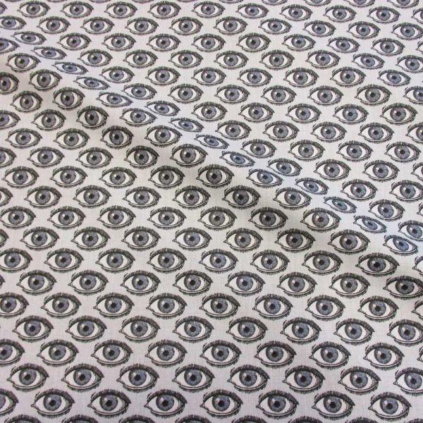 Stoff Baumwolle Auge grau weiss schwarz Trend neu