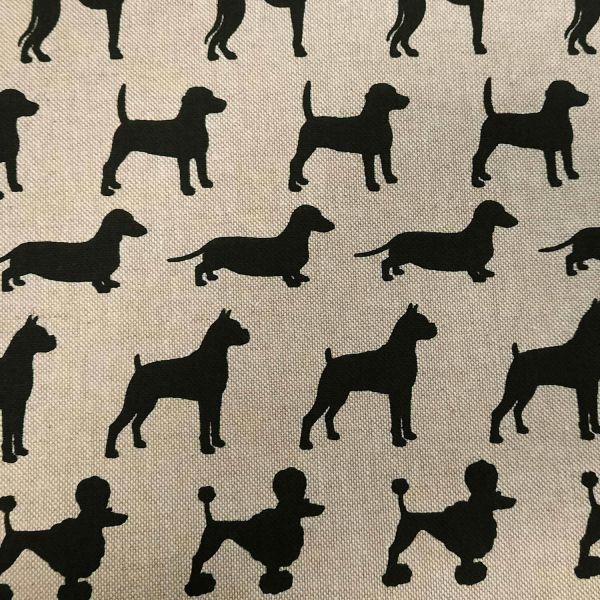 Stoff Baumwollstoff pflegeleicht natur schwarz Hund Dackel Pudel Windhund Labrador 0,5
