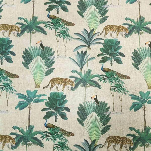 Stoff Baumwolle creme Palmen Jaguar Tukan Pfau Digitaldruck
