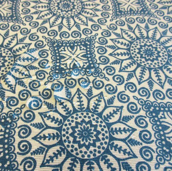 Stoff beschichtet wasserfest Mandala blau ecru neu