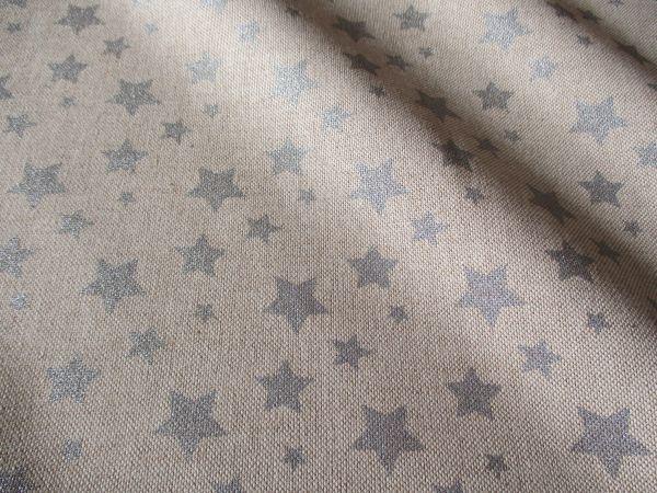 Kurzstück Stoff Baumwollstoff Leinenoptik natur Sterne silber 0,65m x 1,40m