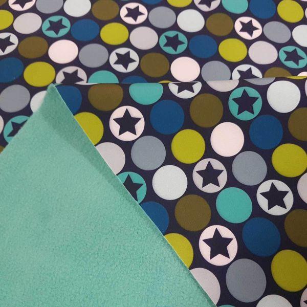 Stoff Meterware Softshell blau grün Kreise Punkte Sterne wasserabweisend Outdoor