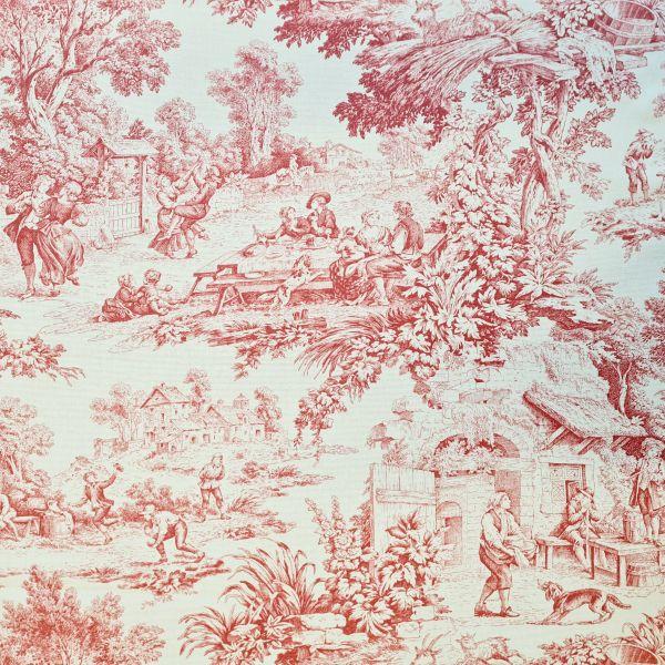 Stoff Meterware Baumwolle wasserfest beschichtet Toile de Jouy rot ecru Tischdecke 0,5
