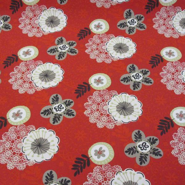 Stoff Baumwolle Blumen rot weiß beige grau Mandala Ornament