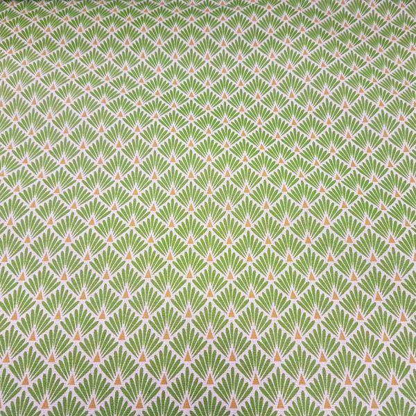 Stoff beschichtet Baumwolle Raute Fächer grün messing