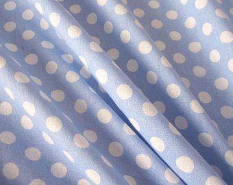 Stoff Baumwollstoff Punkte hellblau weiss M 8 mm