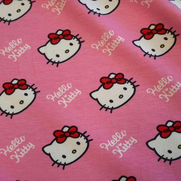 Stoff Meterware Baumwolle Jersey Hello Kitty groß pink Sanrio 0,5