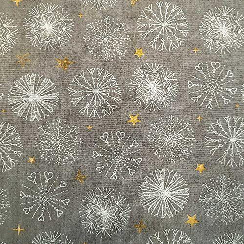 Stoff Baumwolle hellgrau Schneeflocken gross Eiskristalle Sternchen gold 0,5 Weihnachtsstoff