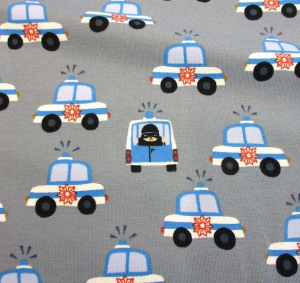 Stoff Meterware Jersey Polizeitauto grau ökotex 100