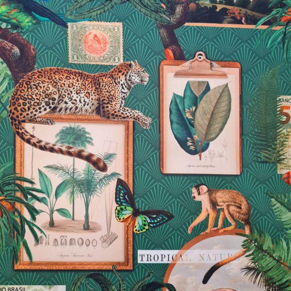 """Stoff Baumwolle Scapbook """"Curiosite"""" smaragdgrün Tukan Leopard 0,5"""