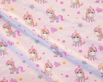 Stoff Baumwolle rosa Einhörner Sterne 0,5