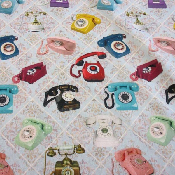 Stoff Baumwolle Retro Telefon Tapete Nostalgie