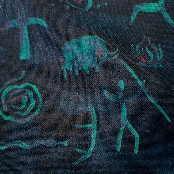 Stoff Meterware Baumwollstoff blau schwarz neon Höhlenmalerei Höhlenzeichnung