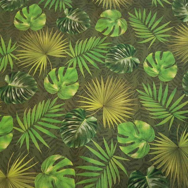 Stoff Baumwollstoff Blätter Dschungel grün abwaschbar Teflon Tischdecke Garten