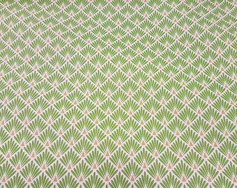 Stoff Baumwolle Japan Fächer Raute grün messing 0,5