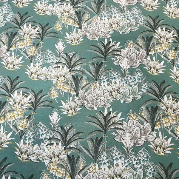 Stoff Meterware Baumwolle opalgrün Palmen weiß grau Blumen Digitaldruck Dekostoff