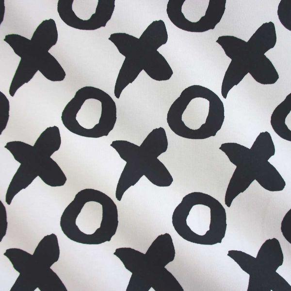 Stoff Meterware Jersey schwarz weiß Tic Tac Toe Kreuz Kreis Spiel x o x 2016 Neu