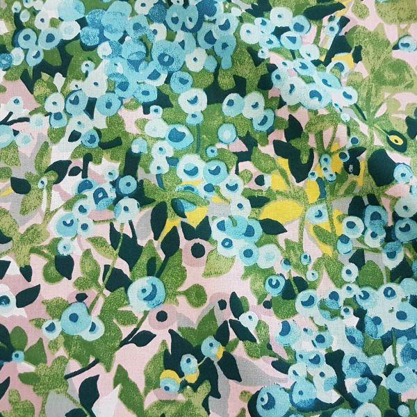 Stoff Meterware Baumwolle Blaubeeren Heidelbeeren Frankreich 0,5