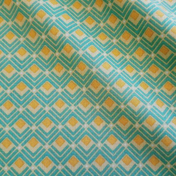 Stoff Meterware Baumwolle grün gelb Karo Winkel Naloom Grafik retro 70er Jahre