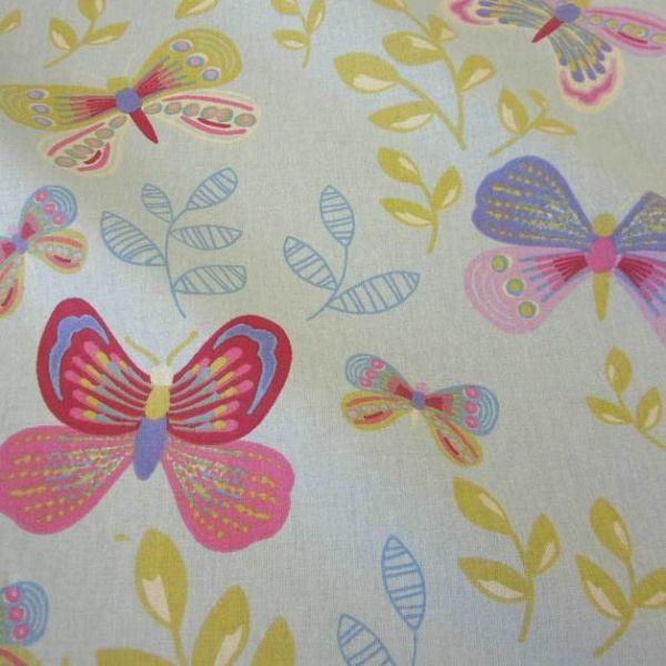 Stoff Baumwolle hellblau grau Schmetterlinge Blätter bunt
