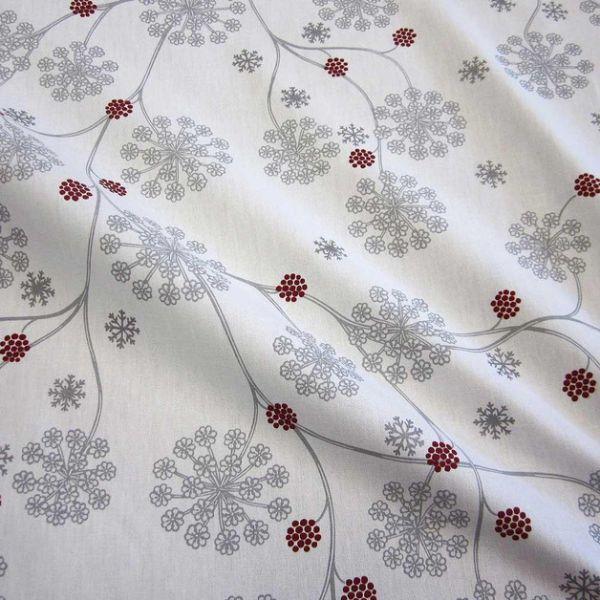 Stoff Baumwolle Frostblumen weiß rot grau silber Eisblumen