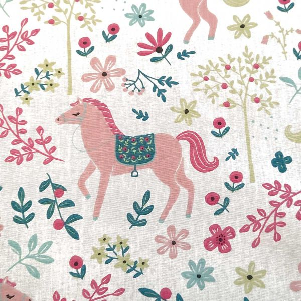 "Stoff Meterware Baumwollstoff Pferde rosa ""Tiana"" Mädchenstoff 0,5"