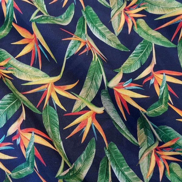 Stoff Meterware Baumwolle Strelitzie indigo orange grün Popeline Rosalie 0,5