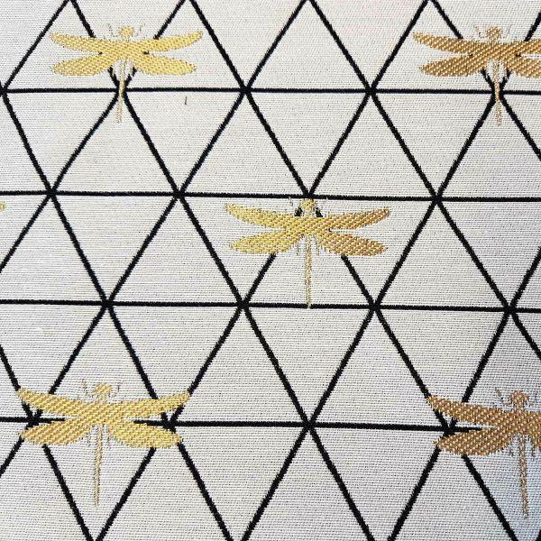 Stoff Meterware Baumwolle Jacquard Libelle weiß gold schwarz Dekostoff