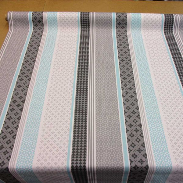 Stoff beschichtet Baumwolle grau türkis Streifen Muster