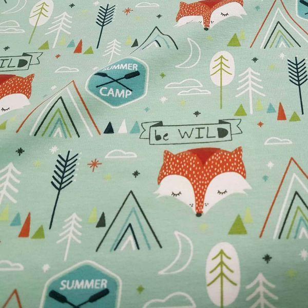 Stoff Meterware Baumwolle Jersey mint Fuchs Camp Dekostoff Frankreich