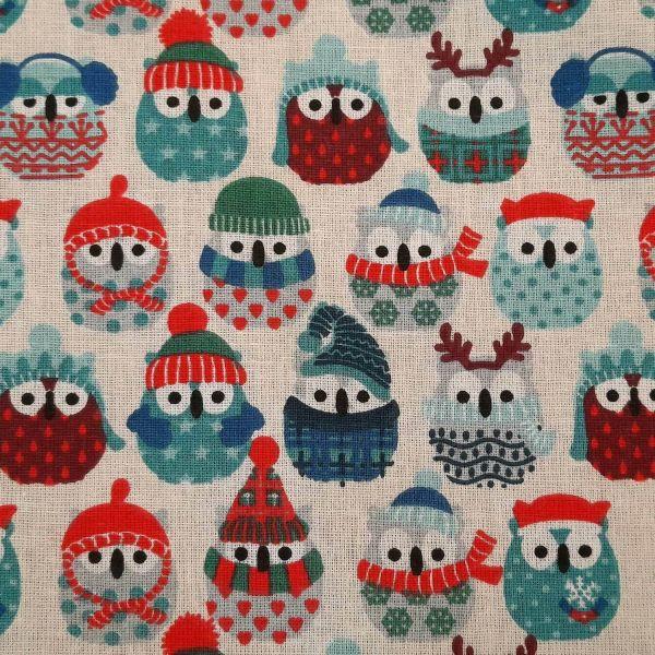 Stoff Baumwolle ecru Eulen Winter Weihnachten blau grau türkis rot 0,5