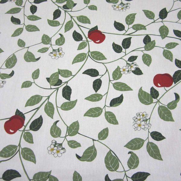 Stoff Baumwolle Apfel Baum Blüte weiß rot Schweden