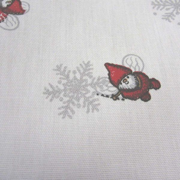 Stoff Baumwolle Gnistan weiß rot grau silber Wichtel Elfen Eiskristalle