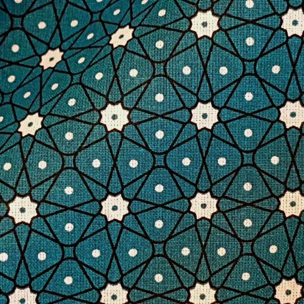 Stoff Baumwollstoff Japan Mosaik Blümchen petrol dunkeltürkisweiß Ceramik Kimono 0,5