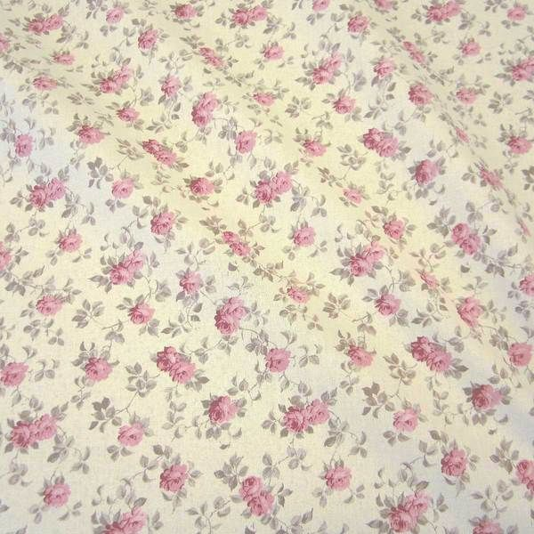 "Kurzstück Stoff Baumwolle Rosen rosa ecru ""Betty Rose""Cretonne Nessel nostalgisch 0,7777m x 1,60m"