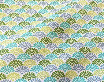 Stoff Meterware Baumwolle koralle türkis grün blau Baccara Raute