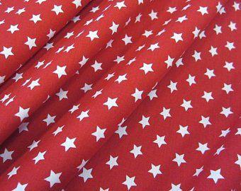 Stoff Baumwollstoff Stern Sterne rot weiß 9 mm