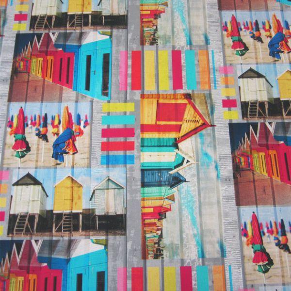 Stoff Baumwolle Digitaldruck bunt Strandkabine Neu