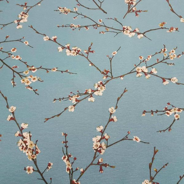 Kurzstück Stoff Meterware Baumwollstoff blau Kirschblüten Japan Zweige Dekostoff 0,70m x 1,40m