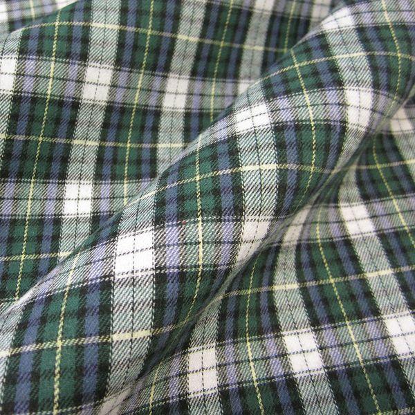 Stoff Meterware Schottenkaro grün blau weiß Sommerflanell Baumwolle
