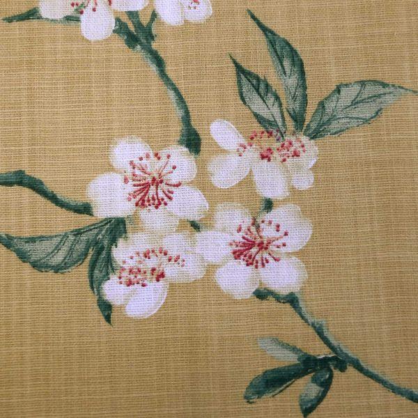 "Stoff Baumwolle ""Saporro"" Kirschblüten gross safrangelb Leinenoptik 0,5"