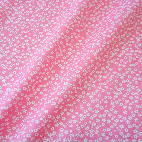 Stoff Baumwollstoff Mille Fleur Streublümchen Blumen rosa weiß